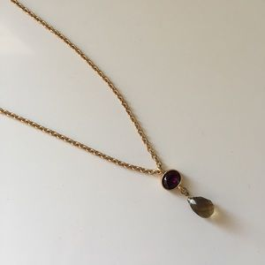 LOFT gold necklace with purple stone